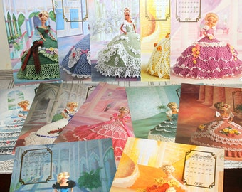 Vintage Annie's Attic Crochet patterns, 1992 Cotillion Doll Crochet Collection, Set of 12 Southern Belle Ball Gowns Crochet Pattern Booklets