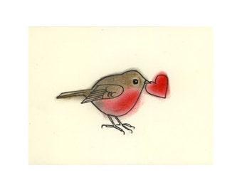 "Valentine Love Bird Art print - Little Love heart - (6"" X 4"" print)"