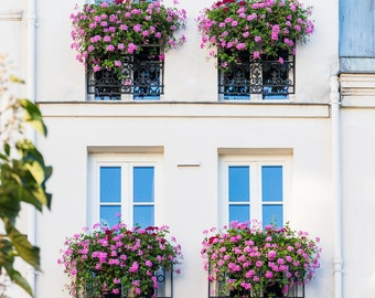 Paris Photography - Pink Geranium Window Boxes, Fine Art Travel Photograph, Paris Decor, Gallery Wall, Paris Art Print, Large Wall Art