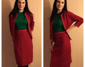 Raspberry Sparkle Suit- Metallic Wool Two Piece- Kimberly Floral Weave- Boxy Tailored Knit with 3/4 Sleeves