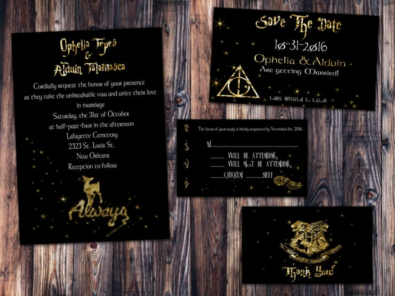 Gold Foil Harry Potter Always Wedding Invitation Save the