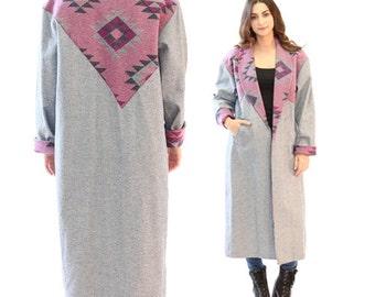 Vtg 80s Southwestern Coat | Ethnic denim Native jean duster trench coat Jacket M L