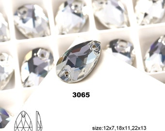 High Quality Drop Shape Crystal Clear Stone With 2 Holes For Sew On