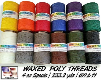 Waxed Poly Thread 4 oz Spool - Choose Color, Ideal for Pine Needle Baskets, Gourd Art, Leather work, Jewelry  Beading & Sewing Crafts