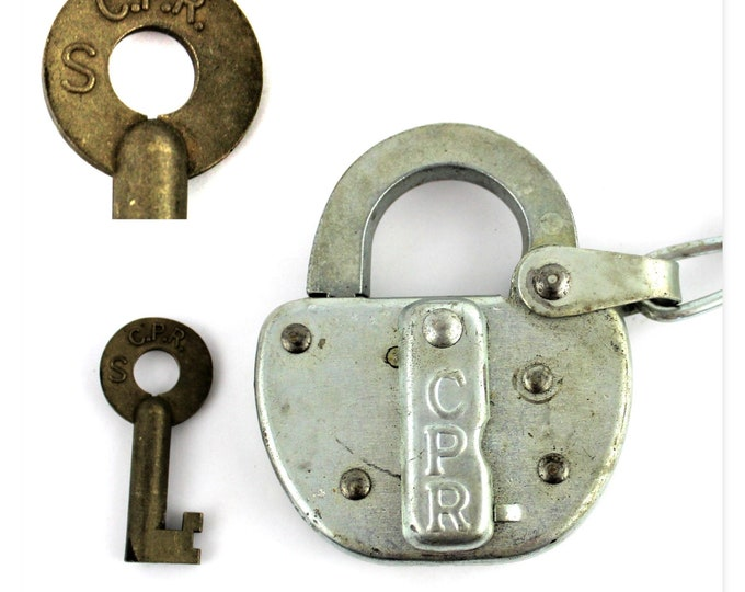 Vintage Canadian Pacific Railway, CPR Padlock, Switch Lock with Key