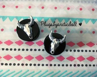 Pair of plugs 18mm skull silver Buffalo