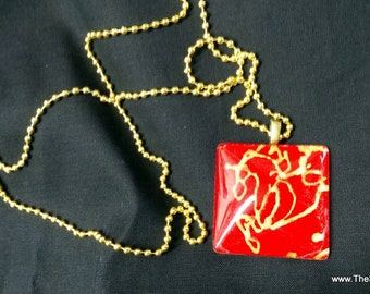 """Necklace, Gold Horse gold on red silk, 1"""" x 2"""" pendant necklace, hand painted jewelry created by artist M Theresa Brown, organza gift bag"""