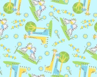 FLEECE Zebra and Giraffe Pals Fabric BlueFrom David Textiles
