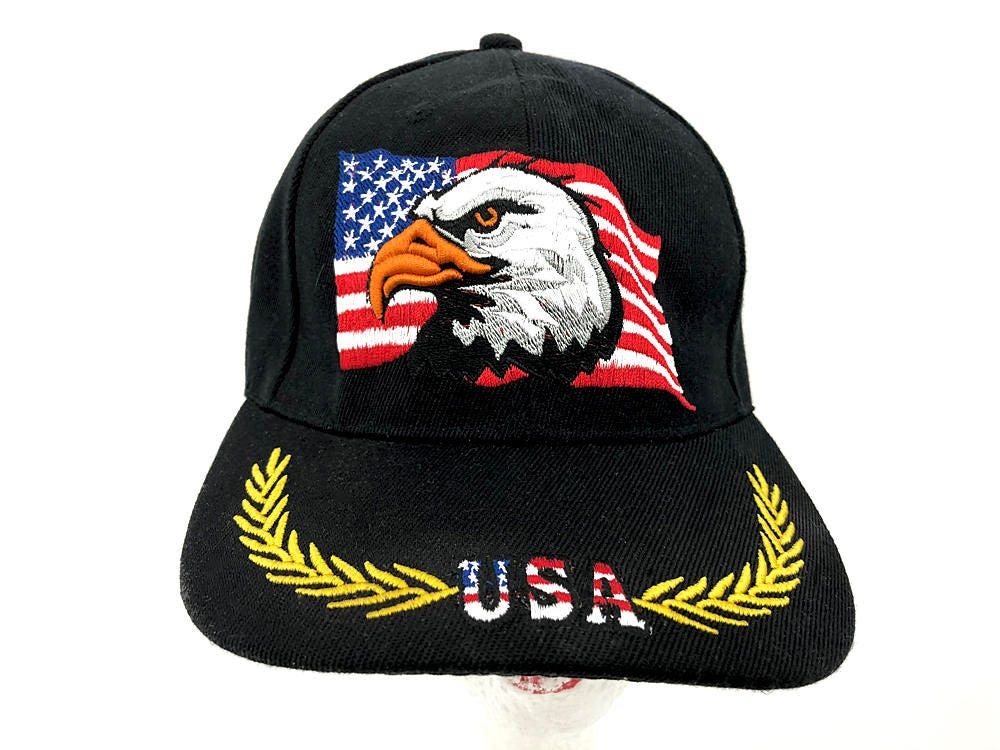 79875fdefbc USA Eagle American Flag Cap Vintage Trucker Hat USA