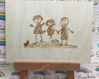 Your Child's Drawing - Personalised Wooden Christmas Present - A4