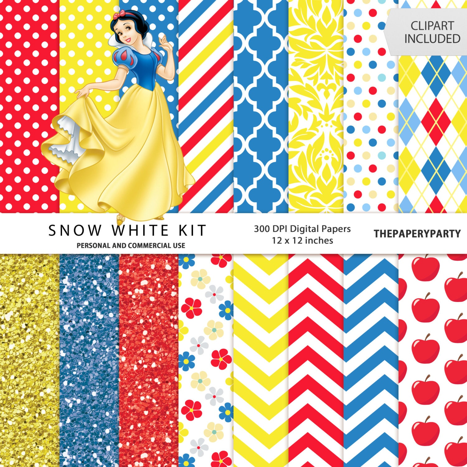 Snow White Digital Papers Scrapbook Kit 12 x 12 inches yellow