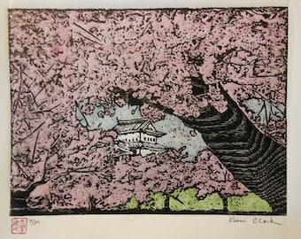 original hand carved woodblock print Moku Hanga Hirosaki-Jo Cherry Blossom Castle Japan signed Clark
