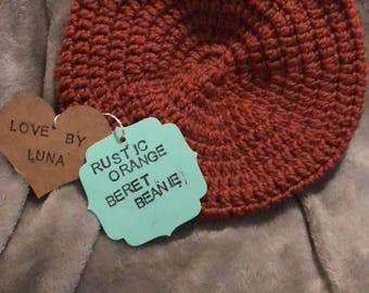 Childrens rustic orange beret