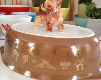 Pyrex Early American Casserole Bowl 045 2.5 qt Large Pyrex Bowl Brown Pyrex Retro Pyrex Vintage Large Casserole Dish Copper and Gold