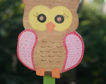 Friendly Pink Owl Garden Stake
