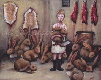 Hasenpfeffer, Girl Butcher, Rabbits, Rabbitskins, Splitting Hares, Fairy Tale, Folk Tale, Storybook Art, Bloody, Macabre, Surreal Art