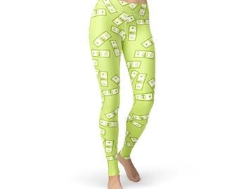 Raining Money Leggings, dollar leggings, cash leggings, dollar print, dollar pants, money print, US dollar, womens yoga pants