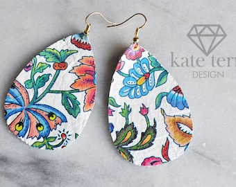 Genuine leather floral teardrop earrings with gold hook