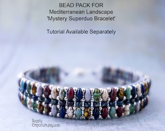 Mediterranean Landscape 'Mystery Superduo'  Beadweaving Bracelet Bead Pack BB22 - Tutorial Available Separately, BB-22 Bracelet