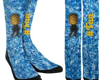 Fun Crew Socks - #Fun - Twitter Hashtag Socks - Cute Socks - Fun Socks - Socks for Men - Socks for Women - FREE Shipping E33
