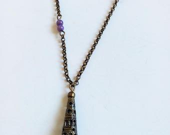 DESTASH necklace bronze, purple beads