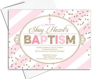 Chatholic Baptism invitation girl printable | pink and gold invites | christening invitation girl | DIY digital or printed - WLP00204