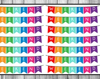 Rainbow Weekend Banner Planner Stickers (Vertical ECLP)