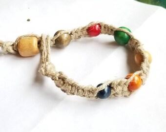 Hemp rainbow bead bracelet