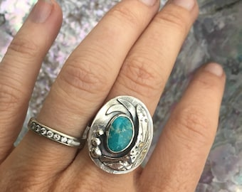 Turquoise and Silver Seaweed Ring - Tide Pool Collection - Whitewater Turquoise and Sterling Silver
