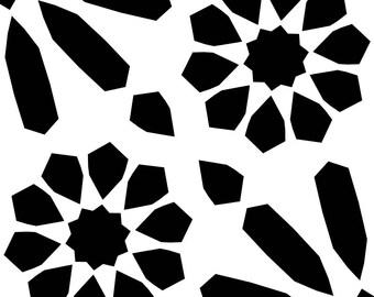 TILE25Q Reusable Laser-Cut Floor or Wall Quarter Tile Stencil  Moroccan Pattern