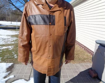 Mans 1980s vintage brown,with black,tan accents  leather jacket,coat ,rare size 2XL
