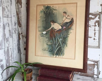 Antique Watercolor Painting The Canoe Harrison Fisher Framed HUGE Victorian Romantic Illustration - Copy