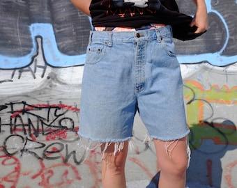 Vintage 90s Flying Jean wear by Flyer Denim Cut offs - 90s Light Wash Jean Shorts - Distressed Flyer - 36 Waist