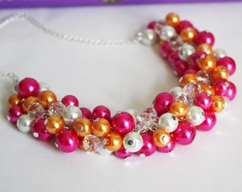 Hot Pink Necklace Pearl Cluster Necklace Bridesmaids Gift Chunky Necklace Hot Pink Orange White Jewelry Set Pearl Jewelry