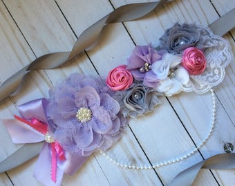 Lavender and pink maternity sash/Lavender and pink baby shower sash/Mommy to be sash/Girl maternity sash