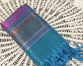 Luxury Womens 100% Cashmere Scarf: Blue and Purple