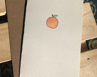 Hand Painted Peach Note Card