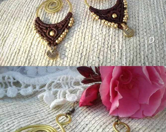 Hand made Earrings Mod. BAKAR with brass and macrame, bohemian gipsy jewelry, elegant macrame, boho chic earrings,