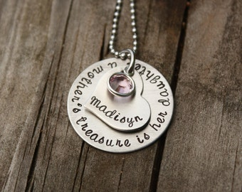 Mothers Day Personalized daughter necklace a mother's treasure is her daughter custom gift for daughter US Mother's day