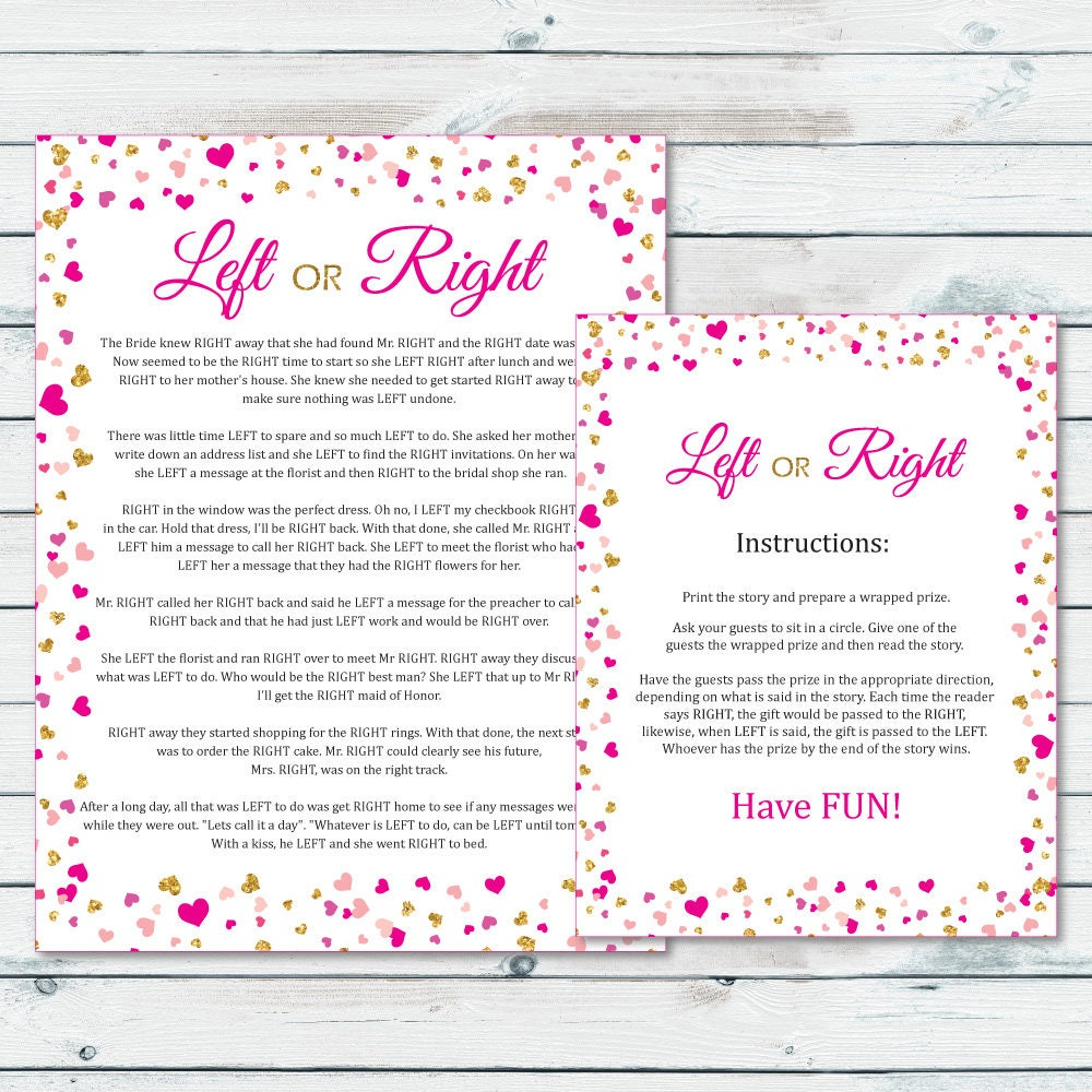 Left Or Right Bridal Shower Game Pass The Prize Bridal Game
