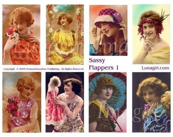 SASSY FLAPPERS digital collage sheet, bright tinted vintage photos, 1920s French postcards women girls ladies, flapper fashions, DOWNLOAD