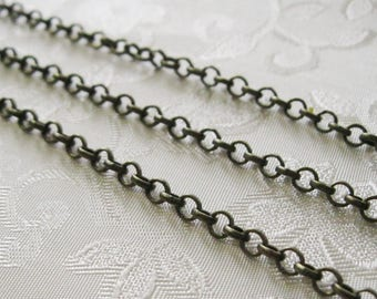 Antique Bronze Brass Plated Round Rolo Chain 4mm Nickel Free Lead Free 375