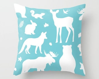 Woodland Animals Pillow With Insert - Forest Animals Pillow Cover - Woodland Nursery Decor - Blue Pillow Cover - Nursery Decor
