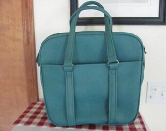 Retro Vintage Aqua Blue Samsonite Soft side vinyl luggage Suitcase Carry on Overnight Bag