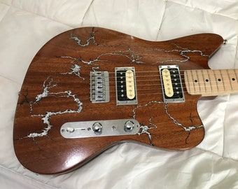 Custom Electric Guitar with Fractal Burning
