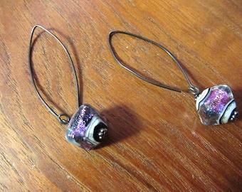 AMETHYST PURPLE SHIMMER Earring, Murano Glass Lampwork Earring