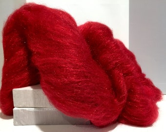 "Red Wool Fiber Art Batt, ""Red Hot""  MTO Needle Felting, decorative fiber, roving, red Firestar, Christmas Red, Valentine's Day, Holiday Deco"