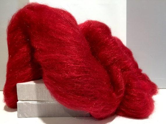 "Red Wool Fiber Art Batt, ""Red Hot""  MTO Needle Felting, decorative fiber, roving, red Firestar, Christmas Red, Valentine's Day, Holiday Deco"