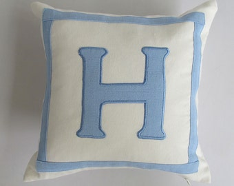 monogram pillow custom made -18 inches off white and blue