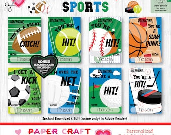 Sports Valentine Cards | Printable Classroom Valentines | Classroom Exchange Cards | By Paper Craft Valentines